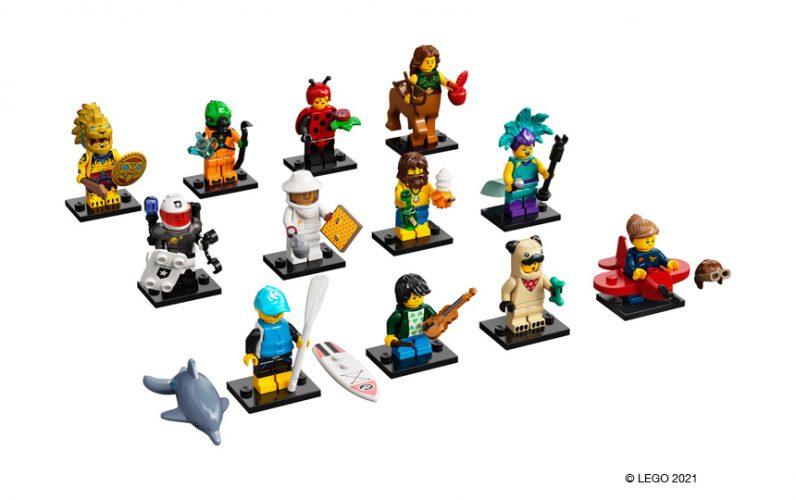 71029 LEGO Zbirateljske minifigure Serije 21 Bojevnik, vesoljski zapornik, pikapolonica, kentavrinja, vesoljska policija, čebelar, brodolomec, pevka, supar, violinist, kostum kužka, pilotka v letalu