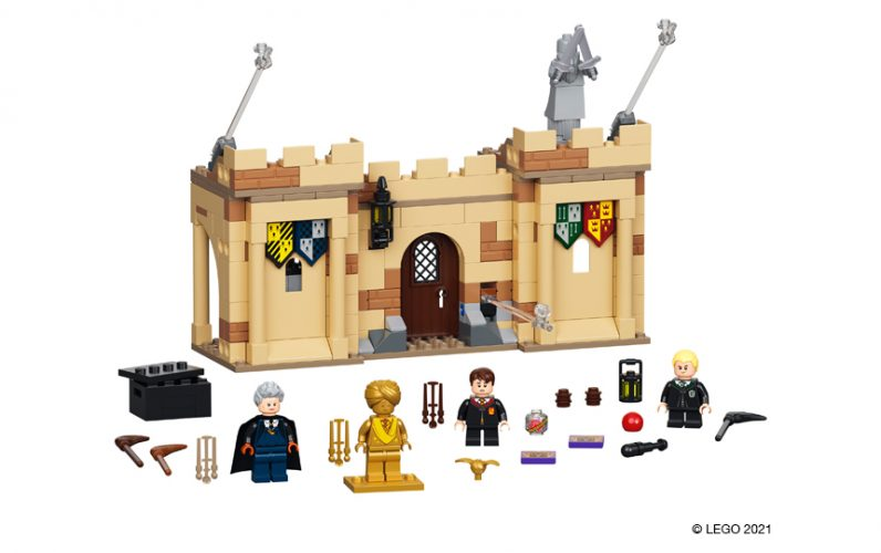 Del obzidja z vrati. Pred njimi stojijo Neville Velerit, Dreco Malfoy, gospa Hooch.