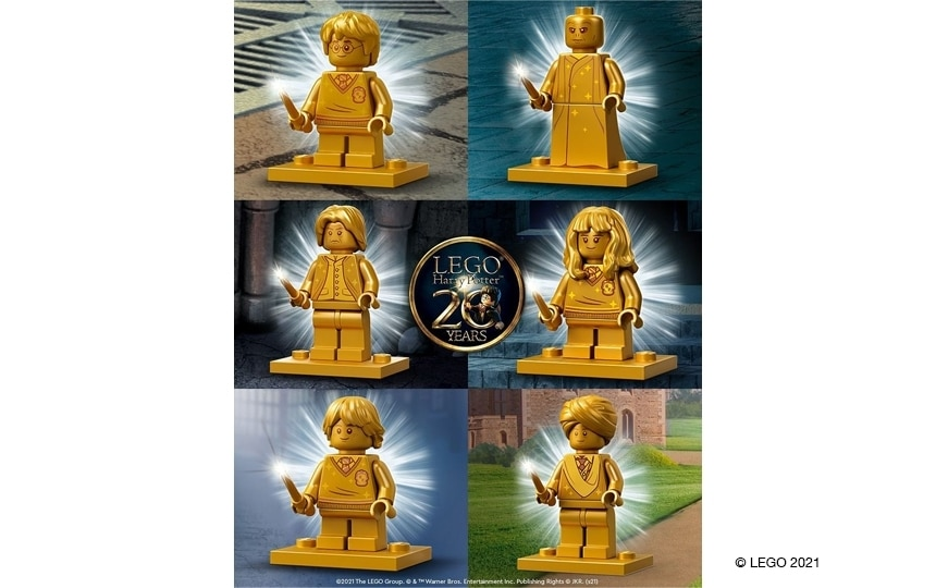 6 zlatih LEGO minifigur ob 20. obletnici teme LEGO Harry Potter. (Harry Potter, Hermiona Granger, Ron Weasley, Mrlakenstein, Robaus Raws in profesor Smottan