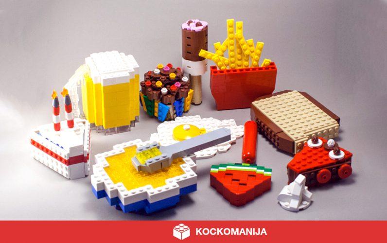 Smetanova torta, krožnik juhe, kos lubenice, klobasica, kos kruha, kos čokoladne pite, kupček smetane, pomfrit, muffin in čokoladna lučka. Vse iz LEGO kock.