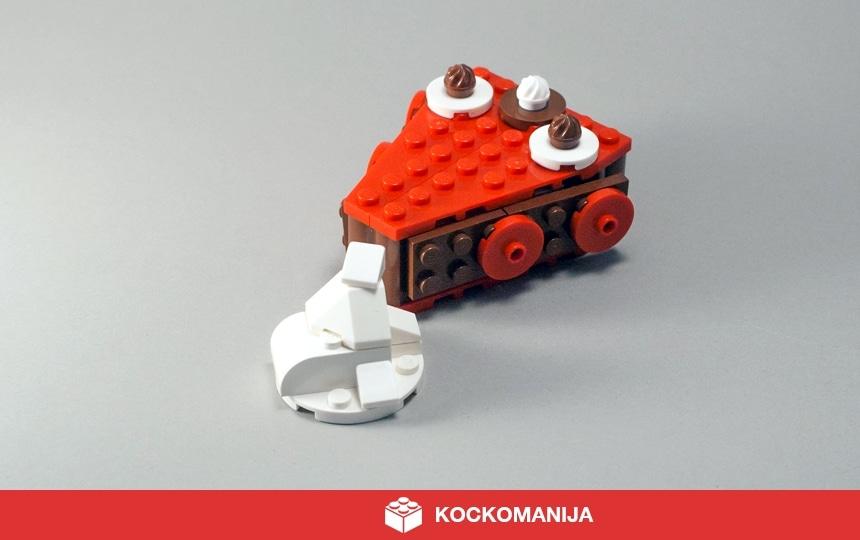 Kos čoloadne pite s kupčkom smetane iz LEGO kock