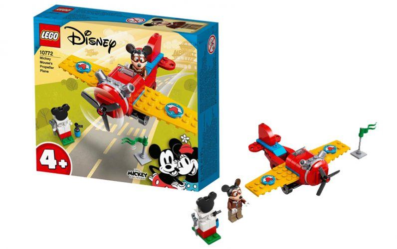 Miki Miška in letalo s propelerjem iz lego kock