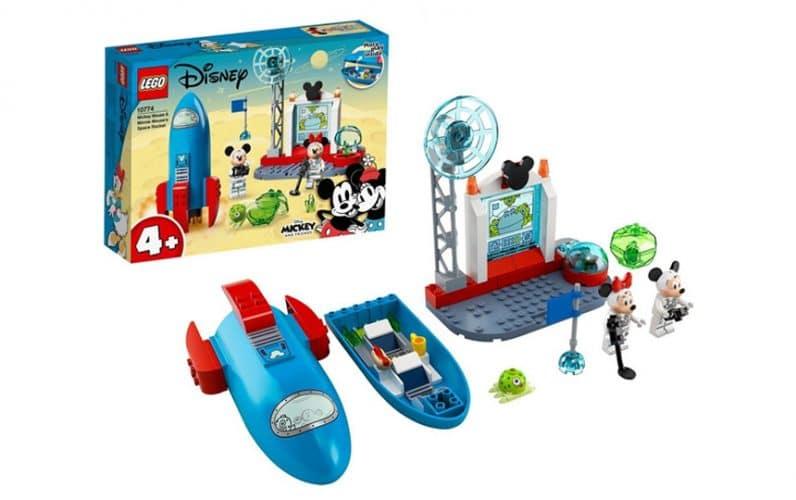 LEGO škatla Disney Miki Miška in Mini Miška poleg vesoljske rakete