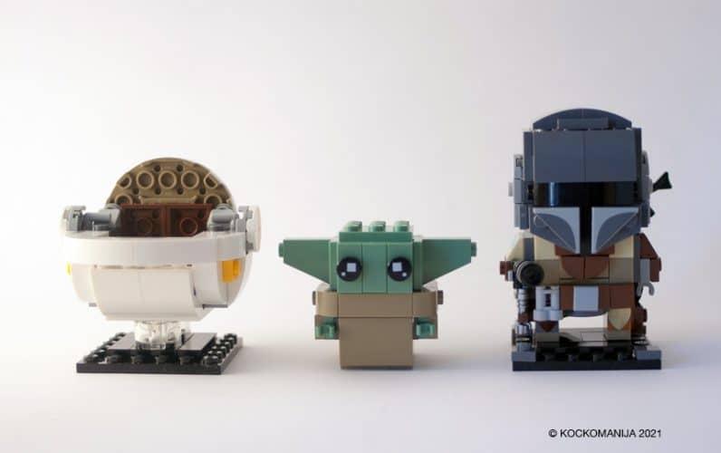 LEGO Brickehadz bel voziček, poleg Baby Yoda na koncu Mandalorian