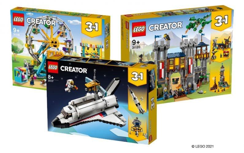 LEGO škatle CREATOR 3v1 Space Shuttle, Zabaviščno kolo in Srednjeveški grad