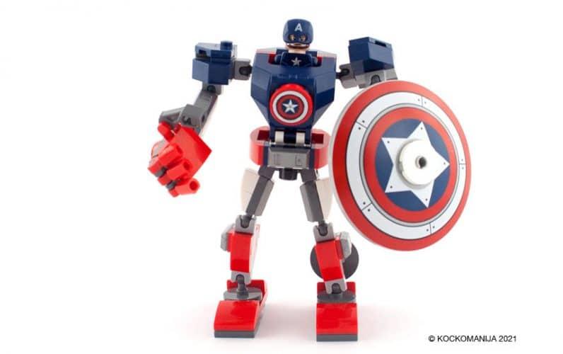 LEGO 76168 Stotnik Amerika robotski oklep stoji z velikim ščitom v roki