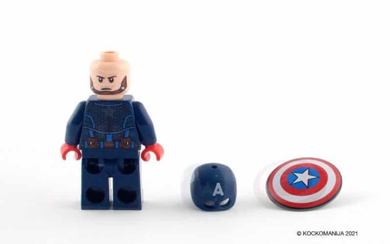 LEGO 76168 Stotnik Amerika robotski oklep minifigura stotnik kapitan amerika z jeznim obrazom poleg celade in ščita