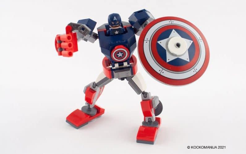 LEGO 76168 Stotnik Amerika robotski oklep v pozi za napad