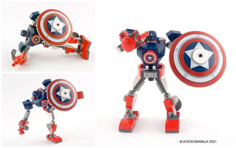 LEGO 76168 Stotnik Amerika robotski oklep v različnih pozah kaže sredinec leži na boku stoji na eni nogi