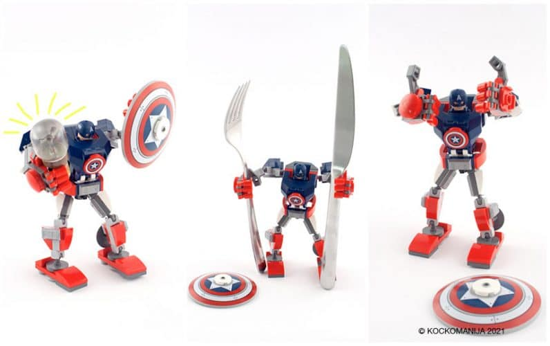 LEGO 76168 Stotnik Amerika robotski oklep v različnih pozah z žarnico v roki z vilico in nožem thumbs up