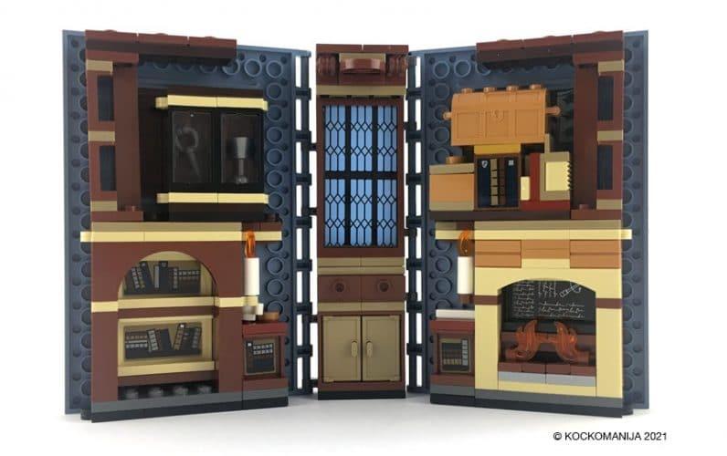 LEGO 76385 Utrinek z Bradavicarke Uroki Odprta knjiga, notranjost knjige s pohištvom kamin, omara, vitrina, kateder, svečnik