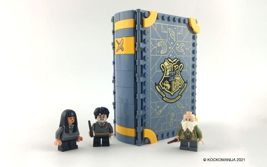 LEGO 76385 Utrinek z Bradavičarke: Uroki Zaprta knjiga pred njo Cho, Harry Potter in profesor Colibri